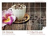 Graz Design 761634_15x15_60 Fliesenaufkleber Kaffee/Sahne/Orchideen-Blüte | Küchen-Fliesen mit Folie überkleben (Fliesenmaß: 15x15cm (BxH)//Bild: 90x60cm (BxH))