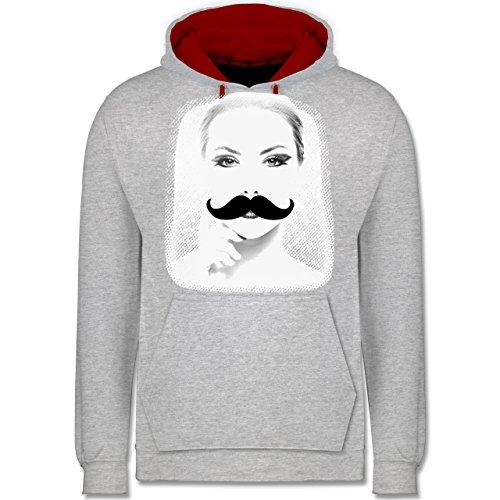 Hipster - Frau Moustache - Kontrast Hoodie Grau Meliert/Rot