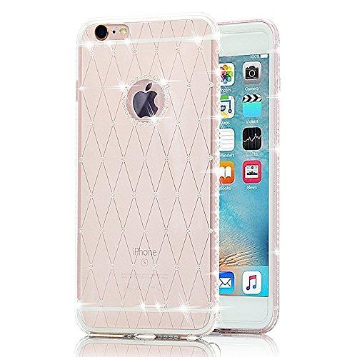 Sunroyal® iphone 7 cover, custodia per Apple iphone 7 (4.7 pollici) Bling Strass Gliter Diamante Coperture Shell Ultra Sottile Transparent Morbido TPU Gel Silicone Protettiva Case Bumper (Bianca)