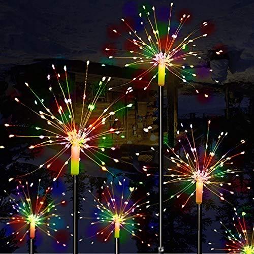Mixtooltoys LED Feuerwerk Lichterketten Solar LED Lichterketten, 120 LEDs Dekorative Stake Starburst Lichter für Partys zu Hause Outdoor Dekoration (2er Pack Mehrfarbig)