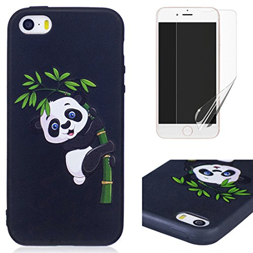 Cover per iphone 5S/5 iphone SE Silicone Morbida ,OYIME [Carino Panda] Disegni in Rilievo Vivace Colorato Creative con Nero Bordi Custodia per Apple iphone 5/5S/SE Flessibile Sottile Originale Elegant Panda e Bambù
