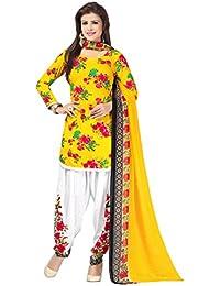 A K Designer Women's Chiffon Dress Material (Mehak9007_Free Size_Yellow)