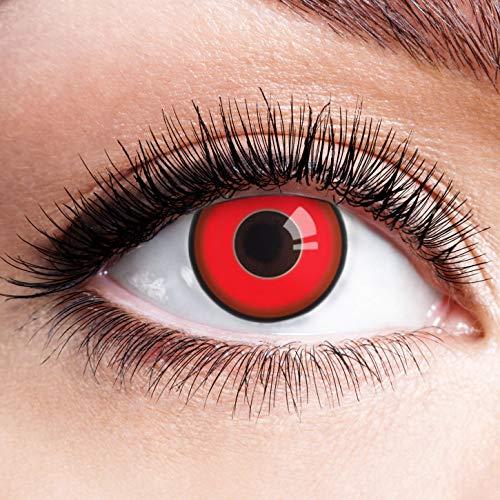 Farbige Kontaktlinsen Schwarz Rot Ohne Stärke mit Motiv Linsen Halloween Karneval Fasching Cosplay Kostüm Black Red Eyes Schwarze Rote Augen Devil Volturi Vampir Zombie