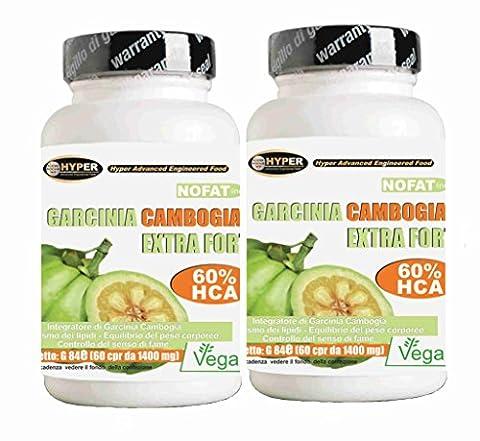 Garcinia | Fat Burner - favorise la perte de poids | 2 Box x 60 comprimés | 1000 mg par comprimé! 60% de HCA | Fat Burning puissant - lutte contre la faim - réduit appétit | Il aide à drainer | 1 paquet 2 mois de traitement | Comprimés sans gluten - 100% naturel et végétalien.