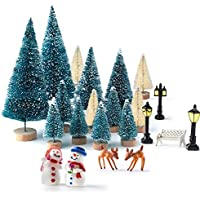 KUUQA 31Pcs Mini Model Snow Frost Trees Bottle Brush Trees Plastic Winter Snow Ornaments Tabletop Model Trees for DIY Home Decor Table Top Decoration Diorama Models
