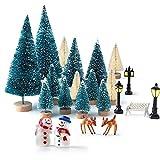 KUUQA 31pcs Mini Modello Neve Gelo Alberi Pennello Bottiglia Alberi Plastica Inverno Neve Ornamenti da Tavolo Modello Alberi per fai da te Home Decor Tavolo Top Decorazione Modelli Diorama