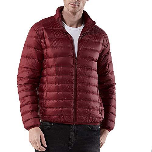 Nylon Running Strumpfhose (WWricotta Men's Winter Warm Nylon Zipped Thick Solid Fleece Coat Cotton-Padded Jacket(rot,L))