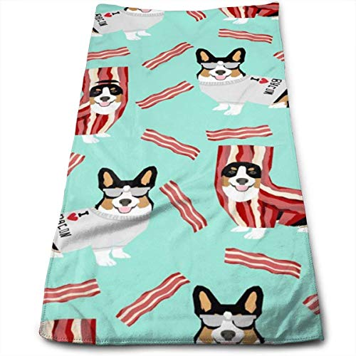 fhjhfgjghfjghfj Tri Colored Corgi Corgis Love Bacon Design Cute Dog Costume Halloween Handtücher Dishcloth Floral Linen Handtücher Super Soft Extra Absorbent for Bath,Spa and Gym 11.8