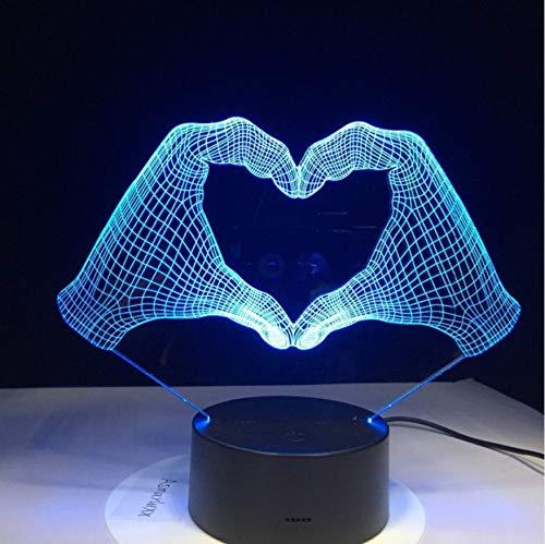 Nachtlicht 3D Liebe Herz Hand Geste Lampe Led 7 Farben Licht Für Hauptdekoration Lampe Acryl Kinderzimmer Optisches Licht Geschenk