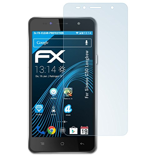 atFolix Schutzfolie kompatibel mit Siswoo C50 Longbow Folie, ultraklare FX Bildschirmschutzfolie (3X)