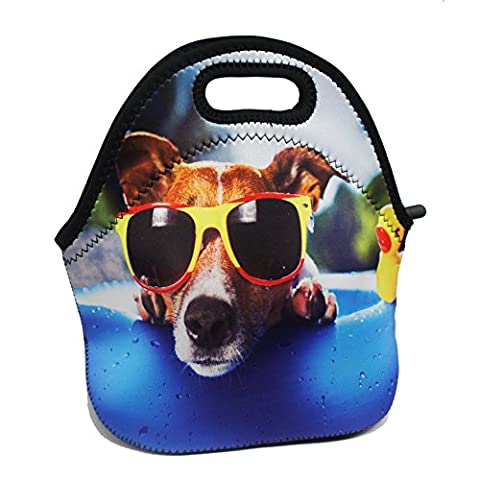 Artone Holiday Dog Insulated Gourmet Lunch Bag Waterproof Neoprene Lunchbox Container Case Blue