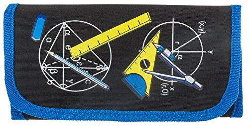 MW Handel Zirkel und Mathematik-Set im praktischen Etui mit Klettverschluss, 12-teilig, schwarz