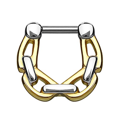 Piercingfaktor Universal Piercing Scharnier Clicker Ring Ketten Style Septum für Tragus Helix Ohr Nase Lippe Brust Intim Nippel Augenbrauen Chirurgenstahl Vergoldet 1,6mm Gold