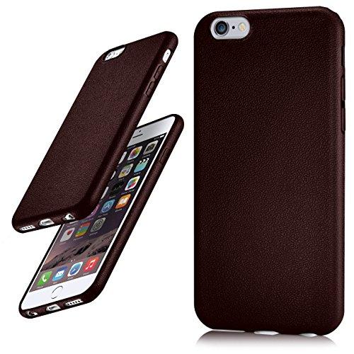 iPhone 6S Plus Hülle Silikon Rosé-Pink in Leder Optik [OneFlow Flex Back-Cover] Schutzhülle Etui Handy-Hülle für iPhone 6 Plus / 6S + Plus Case Ultra-Slim Silikonhülle Tasche BURGUNDY