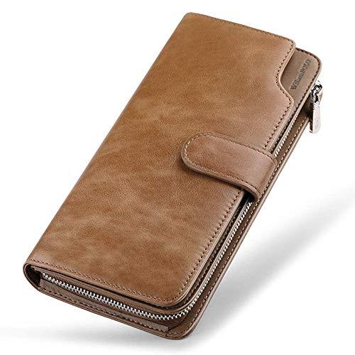 Yter Mens-Kartenmappenhalter Herren Luxus Leder Design Brieftasche ID-Fenster, Kreditkarten-Slot und Münzfach Brieftasche für Männer