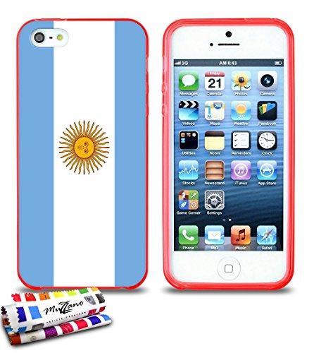 Ultraflache weiche Schutzhülle APPLE IPHONE 5S / IPHONE SE [Flagge Argentinien] [Grau] von MUZZANO + STIFT und MICROFASERTUCH MUZZANO® GRATIS - Das ULTIMATIVE, ELEGANTE UND LANGLEBIGE Schutz-Case für  Rot