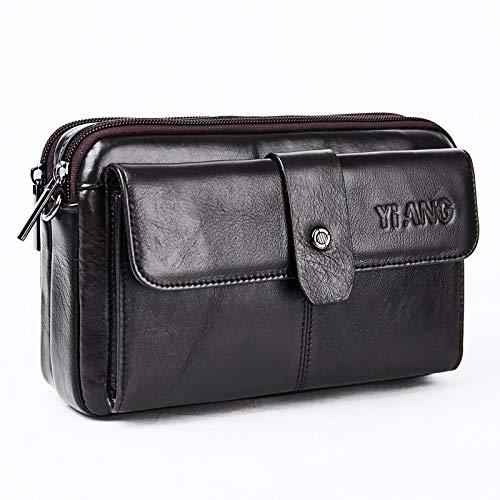 Bearbelly Herren einfarbig Leder Geldbörse Reißverschluss Messenger Bags Handtaschen Brusttaschen - Multi-Pocket Hüfttasche - Mehrzweckbeutel - für Business, Reisen, Wandern, Outdoor -
