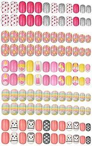 120pcs False Nails for Kids Press on Pre-glue Full Cover Short False Nail Tips Kit Glitter Gradient Color Spar