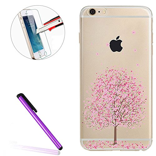 iPhone SE Silicone Coque,iPhone SE Coque Transparente,iPhone SE Coque Antichoc,iPhone SE Coque Bumper,iPhone 5S Silicone Coque Ange Housse Transparent Etui Gel Slim Case Soft Gel Cover pour iPhone 5,E G Cherry Blossom 10