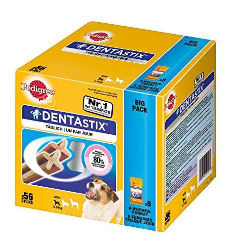 Pedigree DentaStix Hundeleckerli für kleine Hunde / Kausnack mit Huhn- und Rindgeschmack gegen Zahnsteinbildung für gesunde Zähne / 1×56 Stück