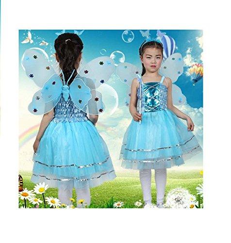 Matissa Kinder Mädchen 4 Stück Komplette Schmetterling Kostüm Set Fee Schmetterlingsflügel Alice Stirnband Tutu Kleid und Zauberstab - Fee Schmetterling Kostüm