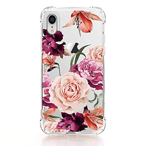 luolnh Kompatibel Mit iPhone Xr Fall, iPhones Xr Hülle Mit Blumen, Blumenmuster-Weiche Flexible TPU Rückseitige Abdeckung Hülle Für iPhone Xr 6.1 Zoll lila Lila Iphone Fall