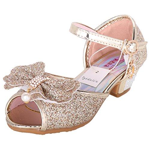 Tyidalin Sandales Ceremonie Fille, Chaussure ࠔalon Enfant Ballerine Princesse Paillettes pour Mariage D駵isement-Or-35EU(Etikett 36)