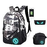Verus Luminous Rucksack mit USB Charging Port, Laptop Rucksack Luminous Schultasche Unisex Schulrucksack Diebstahlschutz Daypacks Backpack