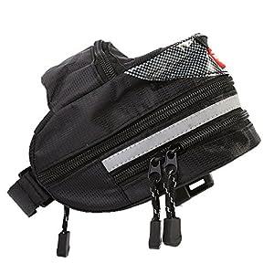 Bolsa de Sillín de Bicicleta Impermeable MTB Saddle Bag Bolsa de Asiento Trasero para la Bicicleta con la Raya Reflexiva Bolso de Almacenamiento de Bicicletas al Aire Libre ( Color : Negro )