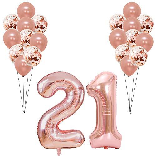 en Ballons Roségold für Mädchen Ihre Frauen Geburtstagsparty mit 40-Zoll-Folienballon und Konfetti-Latexballons ()