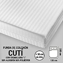 """ADP Home - Funda de colchón """"Cutí"""" con cremallera """"L"""", 135x200+30 cm (para cama de 135 cm), blanco"""