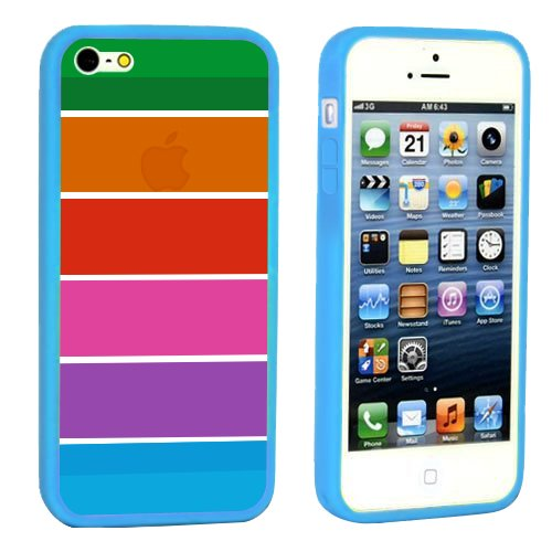 iPhone SE 5S 5 Hülle, Minto Weiche TPU Ränder mit hartem Rainbow PC Rückdeckel Schutzhülle Case Cover Etui für iPhone 5 5S SE Türkis Blau
