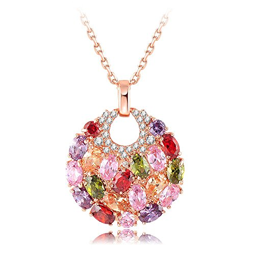 Yellow Chimes Swiss Zircon Rainbow Colors Exquisite 18K Real Rose Gold Plated Pendant for Women and Girls