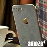 #8: amozo® Decorative Protective Film Suede Skin Case Cover for Apple iPhone 7 Plus (Grey)