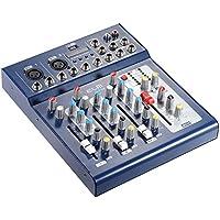 Ammoon® F4-USB 3-Kanal-Digital-Audio-Mischpult mit 48-V-Phantomspeisung für DJ-Aufzeichnung, Bühne, Karaoke, Musicals