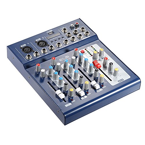 Mischpult Digital (Ammoon® F4-USB 3-Kanal-Digital-Audio-Mischpult mit 48-V-Phantomspeisung für DJ-Aufzeichnung, Bühne, Karaoke, Musicals)