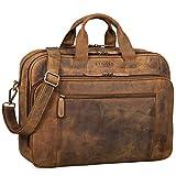 STILORD 'Nelson' Businesstasche Herren Leder 15,6 Zoll Laptoptasche Groß Aktentasche Umhängetasche aus Vintage Rindsleder, Farbe:mittel - braun