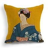 telisha style rétro Jaune japonais geisha femme Kimono Bleu Couvre-lit HOME Decor Housse de coussin taies d'oreiller 45 cm