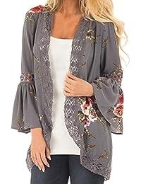 DEELIN Chaqueta De La Chaqueta del Kimono De La Chaqueta Floja De La  Tarjeta De La Flor De La Moda De Las Mujeres Ocasionales Florales… 9c4e7fcc0fa9