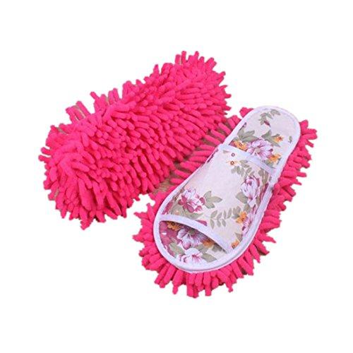 Pantoufles De Poussière, Amlaiworld Pantoufles En Microfibre Pour Femmes Chambre Rose Chaud Chaussures