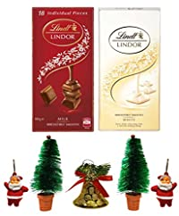Lindt Lindor Combo of 2 Irresistibly Smooth Chocolates (White + Milk), 100gm Combined with X'MAS GOODIES