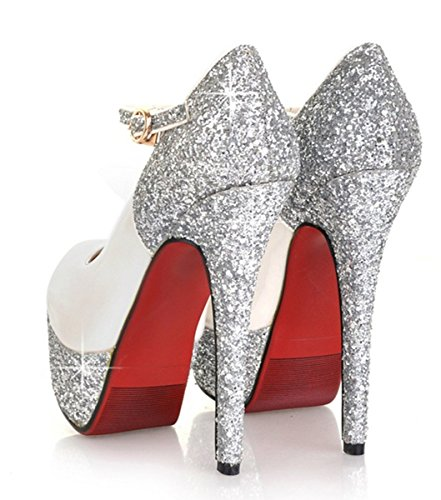 YE Frauen Lackleder Geschlossene High Heels Plateau Stiletto 14cm Absatz Knöchelriemchen Pailletten Leder rote Sohle Pumps Schuhe Weiß