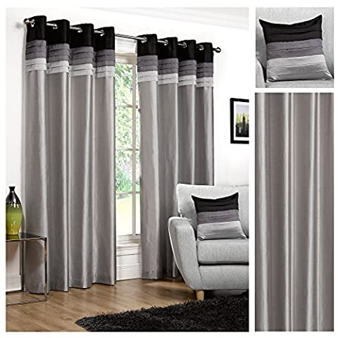 Hamilton McBride Seattle Black Ring Top / Eyelet Fully Lined Readymade Curtain Pair 90x90in(228x228cm) Approx