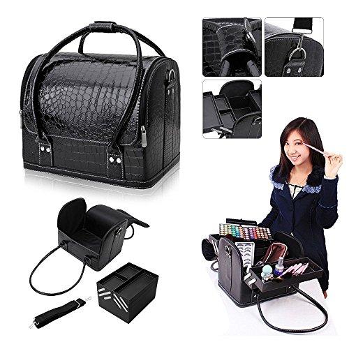 Hotrose Professional Beauty Make Up Case Nail Cosmetic Box Vanity Case (Black) by Hotrose