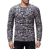 Soupliebe Männer Casual Bedrucktes T Shirt Herbst Winter Pullover Top Bluse