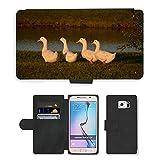 GoGoMobile PU Flip Carcasa Funda de Cuero Piel Cubre Case // M00124863 Anatre Uccelli acquatici Row Fowl // Samsung Galaxy S6 (Not Fits S6 EDGE)