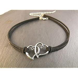 Choker Halskette Kette Kropfband Halsband Herz Doppelherz enganliegend Handmade
