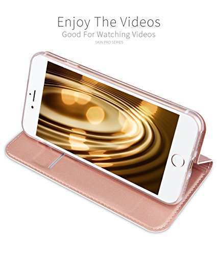 """iPhone 6S Plus hülle,iPhone 6 Plus hülle,SUNWAY Series Ultra Slim Skin Pu Leather Folio Flip With Kick Stand Card Slots Magnetic Full Body Protection Back Cover for iPhone 6S/6 plus 5.5 """" Roségold Grau"""