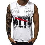 Camisetas Sin Mangas Hombre Verano SHOBDW 2019 Nuevo Camisetas Hombre Tirantes Gym Deporte Fitness Impresión de Letras Blusa Tops Cómodo Transpirable Tallas Grandes S-XXL(Blanco,S)