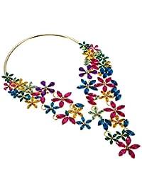 Jerollin Collier Femme Fantaisie de Diamant Choker Cadeau Mariage Banquet Vacances Ouvert Colorful
